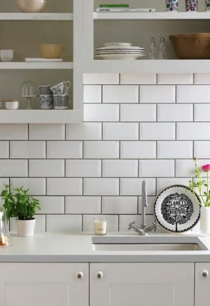 contrasting grout kitchen