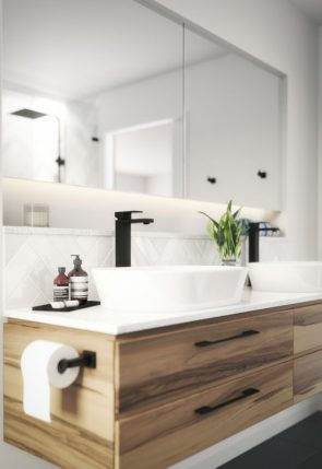 black faucet and cabinet pulls