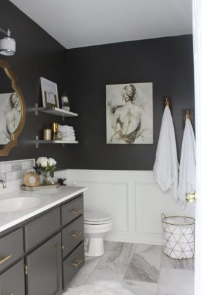 black walls, brass pulls