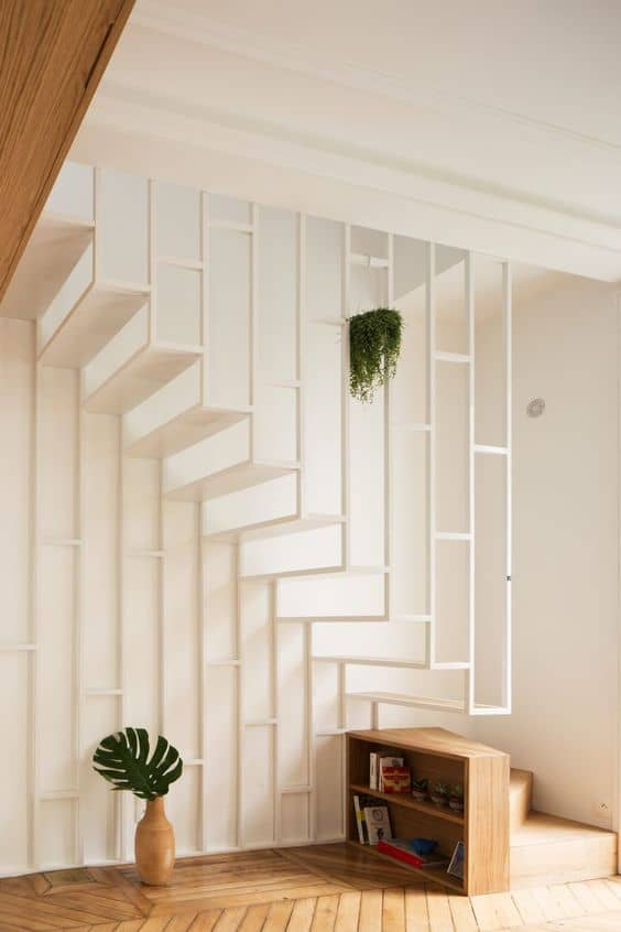 white tristan metal staircase
